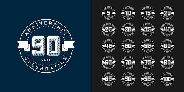 Conjunto de logotipo de aniversário. celebração de aniversário moderna.