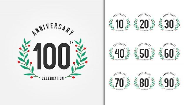 Conjunto de logotipo de aniversário com coroa de louros.