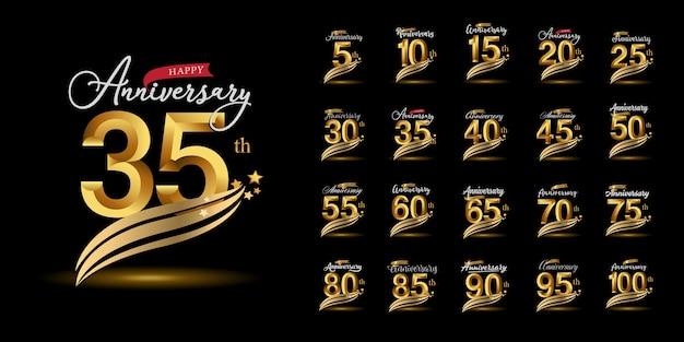 Conjunto de logotipo de aniversário com estilo de letras. desenho de emblema de celebração de aniversário de ouro