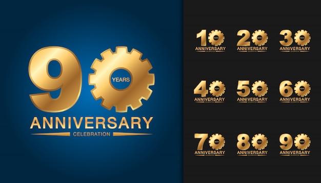 Conjunto de logotipo de aniversário de ouro.