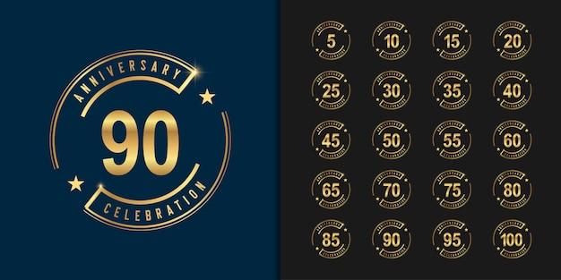 Conjunto de logotipo de aniversário. design de emblema de celebração de aniversário de ouro.