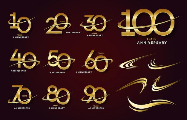 Conjunto de logotipo de aniversário e fita de ouro. design de emblema de comemoração de aniversário dourado