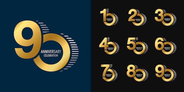 Conjunto de logotipo de aniversário.