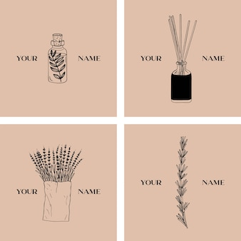 Conjunto de logotipo de aromaterapia