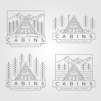 Conjunto de logotipo de arte em linha de cabine