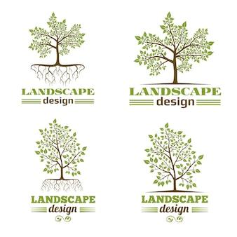 Conjunto de logotipo de árvore com raízes