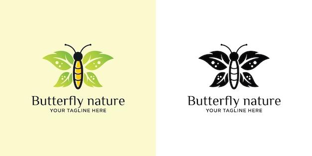 Conjunto de logotipo de asas de linda borboleta