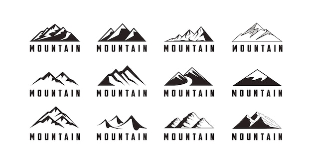 Conjunto de logotipo de aventura com ícone de montanha