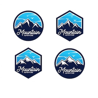 Conjunto de logotipo de aventura de montanha