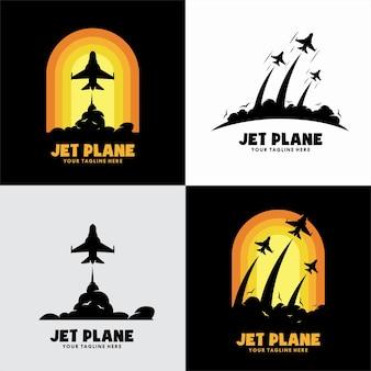 Conjunto de logotipo de avião a jato