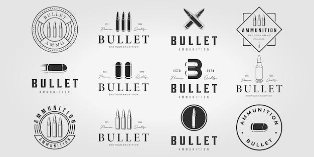 Conjunto de logotipo de bala, vetor vintage, design de ilustração do pacote de logotipo de munição de bala da letra b