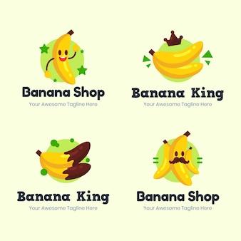 Conjunto de logotipo de banana desenhado