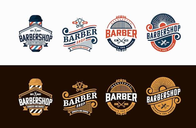 Conjunto de logotipo de barbearia em estilo vintage. modelos de vetor