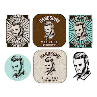 Conjunto de logotipo de barbearia isolado
