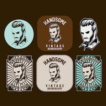 Conjunto de logotipo de barbearia no fundo escuro