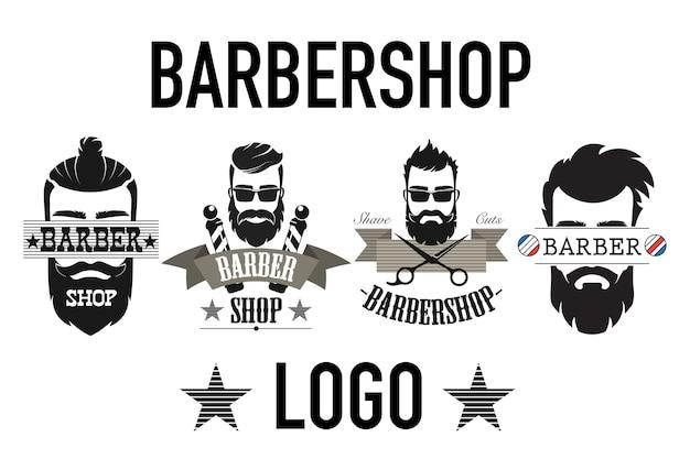 Conjunto de logotipo de barbearia retrô vintage isolado no branco