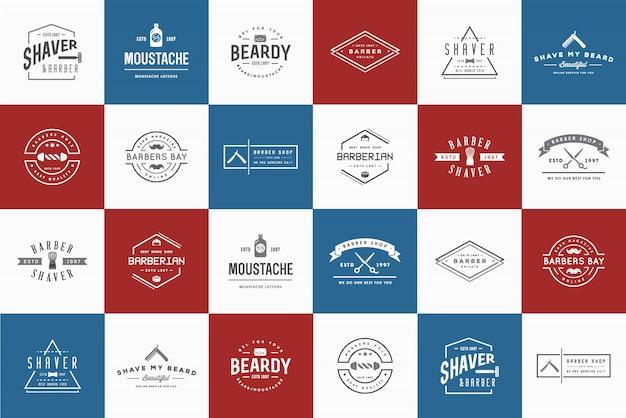 Conjunto de logotipo de barbearia
