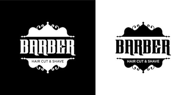 Conjunto de logotipo de barbeiro