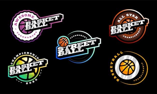 Conjunto de logotipo de basquete. esporte profissional moderno de tipografia retrô