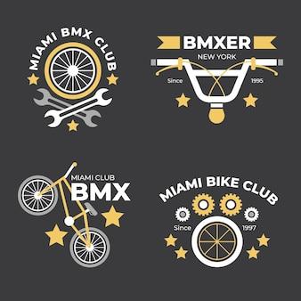 Conjunto de logotipo de bicicleta de design plano