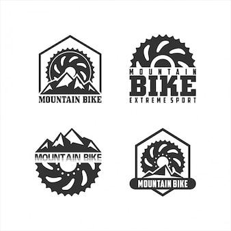Conjunto de logotipo de bicicleta de montanha