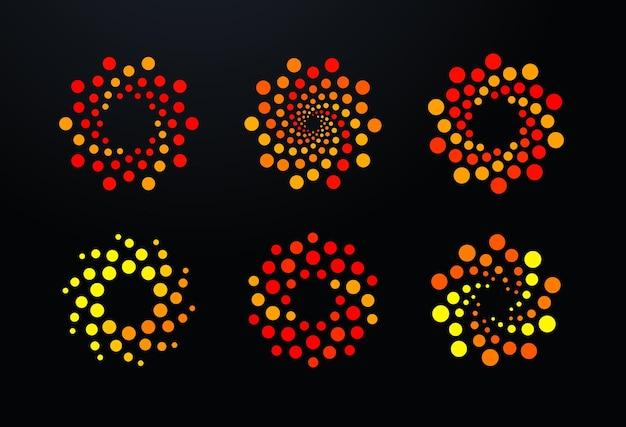 Conjunto de logotipo de bolhas, pontos e pontos, logotipos redondos em espiral laranja modelo abstrato furacão vórtice sol quente