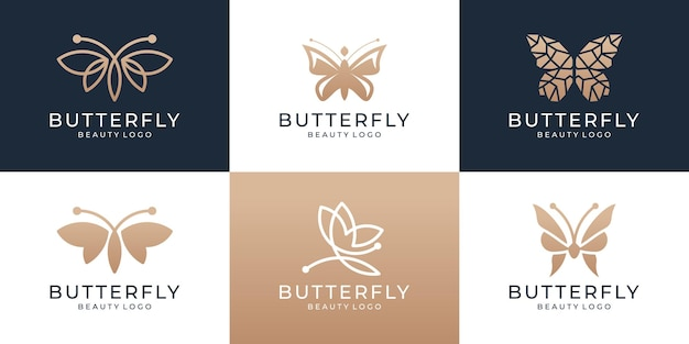 Conjunto de logotipo de borboleta de luxo com logotipo minimalista plana.