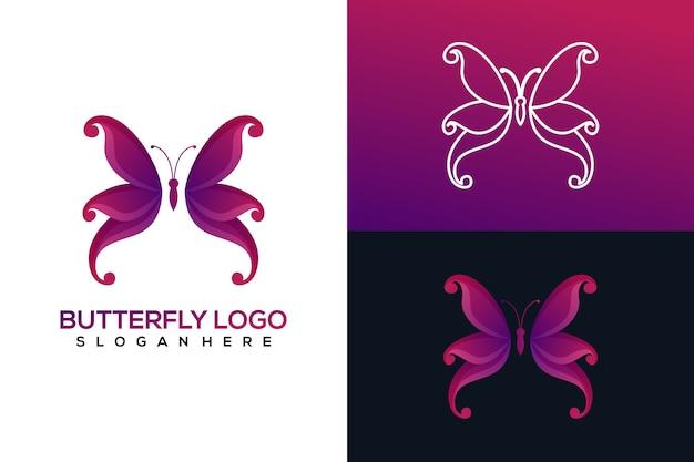 Conjunto de logotipo de borboleta