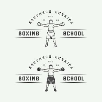Conjunto de logotipo de boxe retrô