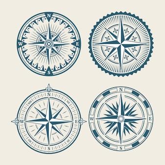 Conjunto de logotipo de bússola marinha vintage