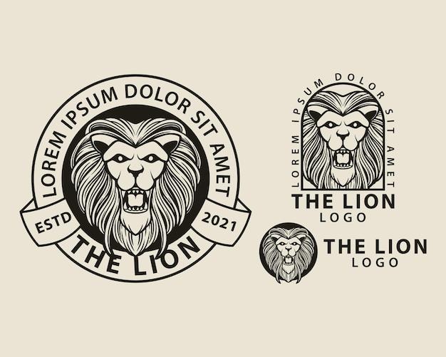 Conjunto de logotipo de cabeça de leão pacotes design de modelo vintage