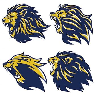 Conjunto de logotipo de cabeça de leão
