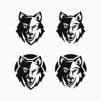 Conjunto de logotipo de cabeça de lobo