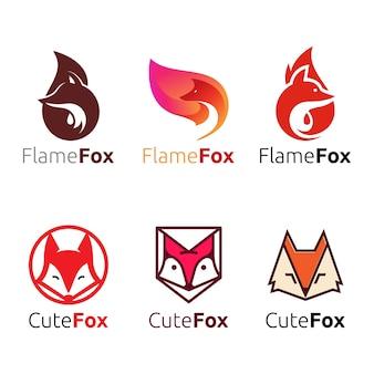 Conjunto de logotipo de cabeça de raposa de chama selvagem fofa