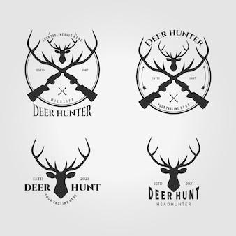 Conjunto de logotipo de caçador de cervos de pacote ilustração vetorial design ico vintage