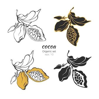 Conjunto de logotipo de cacau natureza deixa flor de feijão mão desenhar forma símbolo linha arte esboço
