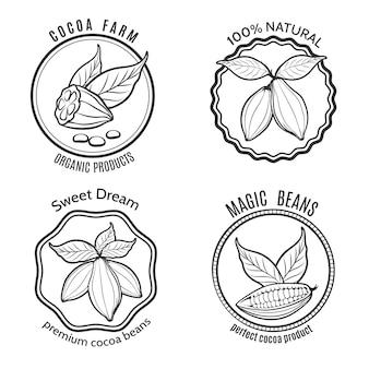 Conjunto de logotipo de cacau
