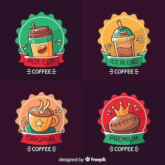 Conjunto de logotipo de café mão desenhada
