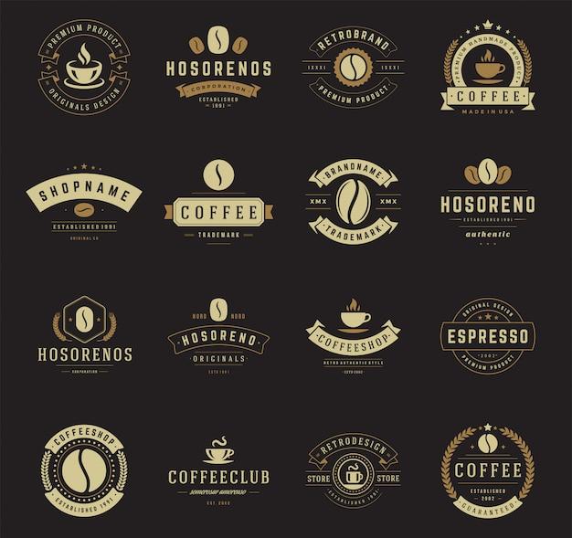 Conjunto de logotipo de cafeteria