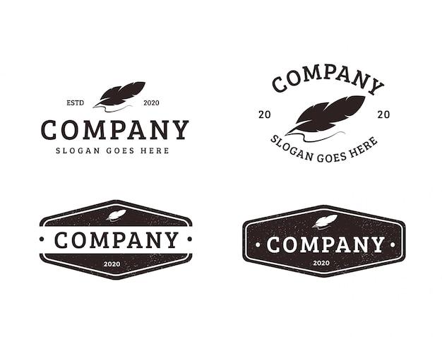 Conjunto de logotipo de caneta de pena