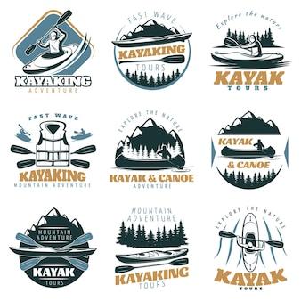 Conjunto de logotipo de canoa caiaque