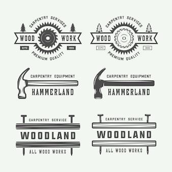 Conjunto de logotipo de carpintaria