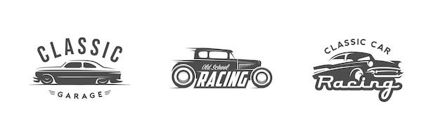Conjunto de logotipo de carro antigo