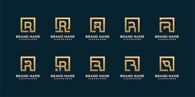 Conjunto de logotipo de carta com ideia de forma criativa