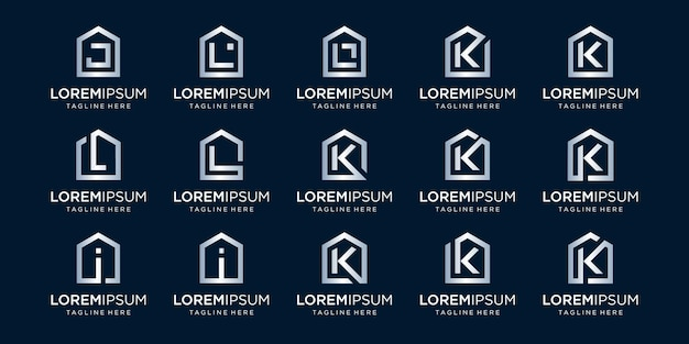 Conjunto de logotipo de casa combinado com a letra j, k, i, l, modelos de designs