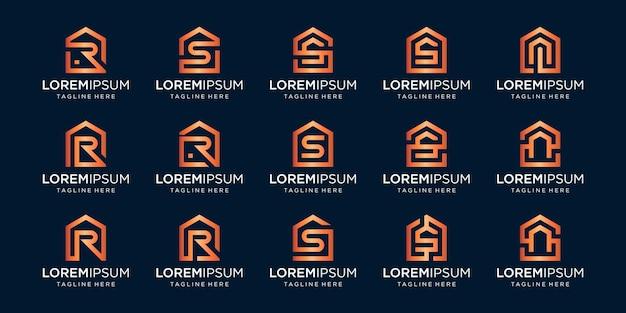Conjunto de logotipo de casa combinado com a letra r, s, n, modelos de designs.