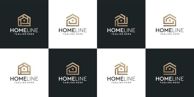 Conjunto de logotipo de casa de construção com monograma dourado