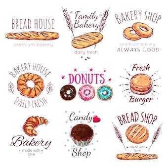 Conjunto de logotipo de casa de pão