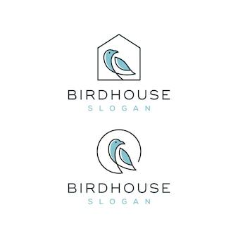Conjunto de logotipo de casa de pássaro