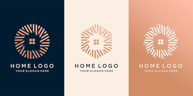 Conjunto de logotipo de casa simples com círculo de conceito criativo de contorno moderno. template premium vector